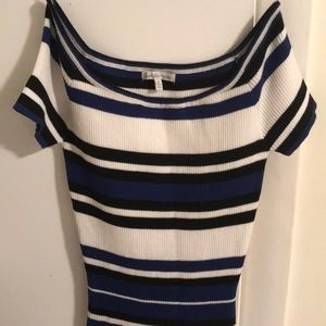 Off the shoulder striped bodycon sweater dress